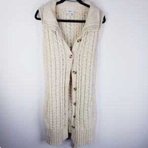 Sweaters - Ann Taylor loft long cteam cable sweater vest xl